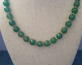 Vibrant and Healing  Green Jade Necklace with gold toned spacers!!! What a great color!!