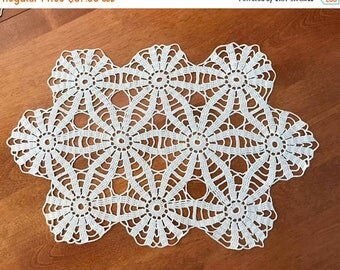 Set of 8 Vintage Handmade Crocheted Placemats