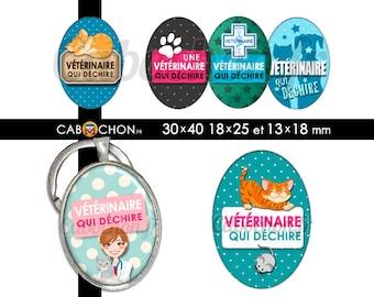 Vétérinaire qui déchire • 45 Images Digitales OVALES 30x40 18x25 13x18 mm  animaux chat chien véto cabinet chaton
