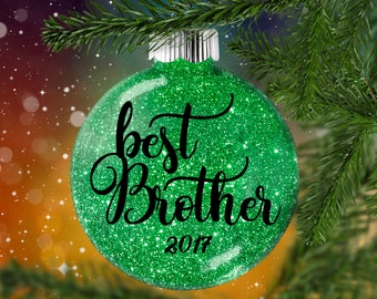 Best Brother Glitter Ornament, Shatter Resistant Glass, Glittered Bauble, Glitter Art Decoration for Brother Sister, Holiday Gift Idea