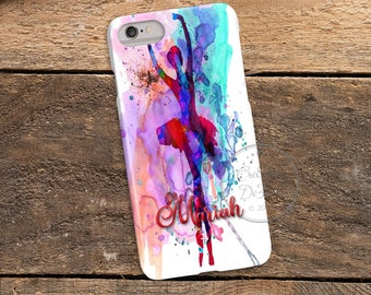 Watercolor Ballerina Dancer, 3D Phone Case, Iphone 6 7 7+ Samsung Galaxy S5 Thin Hard Case, Personalize with Name or Text, Mobile Full Wrap