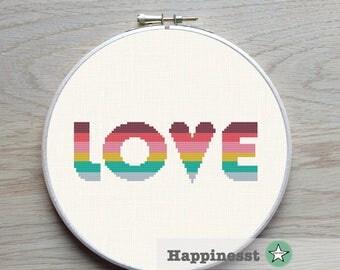 modern cross stitch pattern LOVE, LOVE quote, rainbow, valentine, PDF,  ** instant download**