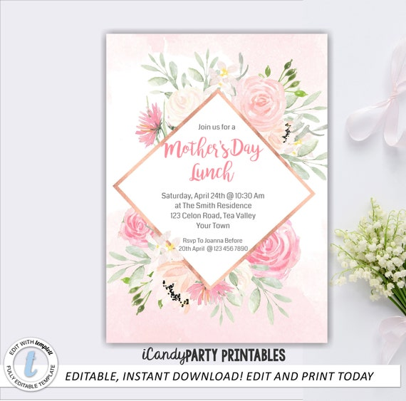 Mothers day invite birthday lunch invite pink floral invite il570xn stopboris Choice Image