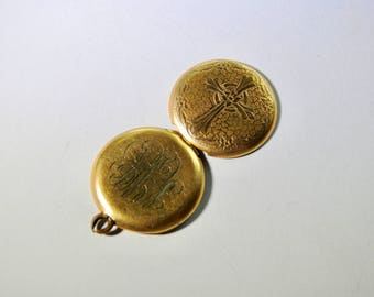Vintage Gold Locket with Cross