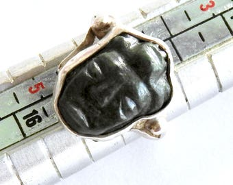 Carved Jade Buddha Small Sterling Ring