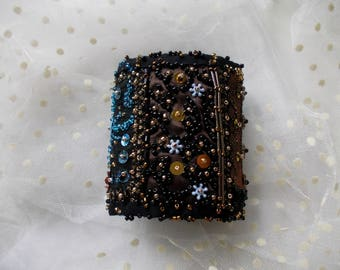 Algeria...sparkly wrist cuff, hand beaded collage cuff, manually stitched bohemian cuff bracelet in golden, black, blue, brown.