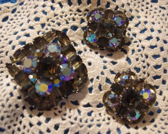 Beautiful Vintage Large Signed Judy Lee Pin/Pendant and Clip Earrings with Prong Set Crystals
