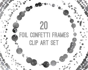 Black Silver Confetti Frames Foil Circle Clip Art Art 20 Image PNG File 8in Commercial Use Graphic Digital Clipart Set 3