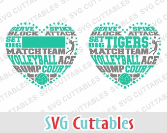 Volleyball Subway Heart svg, eps, dxf, digital cut file for cutting machines