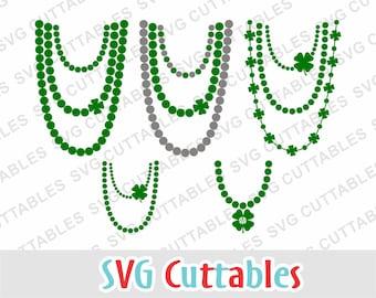 St. Patrick's Day svg, St. Patricks day Necklace , necklace svg, dxf, eps, shamrock svg,  Silhouette, Cricut cut file, Digital download