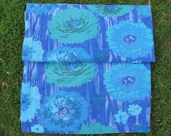 Vintage fabric - hemmed curtain panel - fabulous blue flowers!