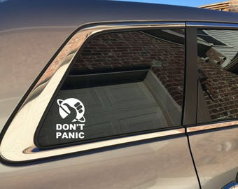 Don't Panic - Hitchhikers Guide to the Galaxy inspired car decal