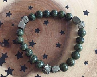 Serpentine and Pyrite Bracelet, Reiki Infused