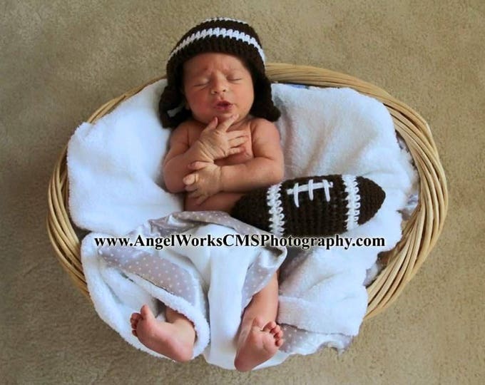 Crochet Football Themed Outfit / Photo Prop, Perfect for Baby's First Pictures, Halloween, Superbowl Party