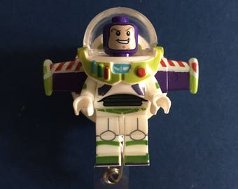 Disney© Buzz Lightyear™ Toy Story™ ~ ID Holder Customized with Brick® Minifigure ~ Badge Reel ~ Belt Clip ~ Alligator Clip ~ Keychain Nurses