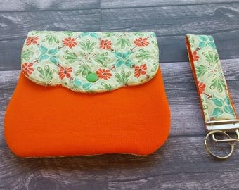 Handmade quilted wristlet with detachable key fob - cell phone purse - quilted purse -orange and green!