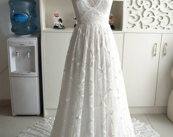 Rustic Lace Backless Wedding Dress