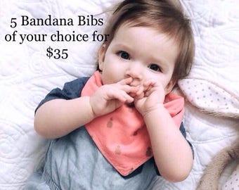 Bandana Bib, Dribble Bib, Drool Bib, Bibdana sets, Choose 5