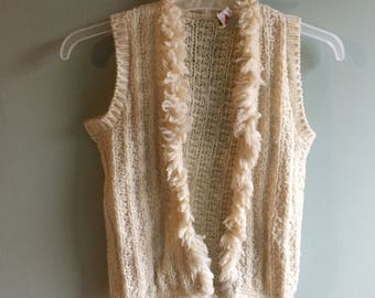 1970s Cream Wool Sweater Vest, XS
