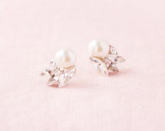 Starlight Pearl & Crystal Earrings, Studs, Wedding Earrings, Bridal Earrings, Cluster Earrings, Crystal Earrings, Pearl Earrings, Pearl Stud