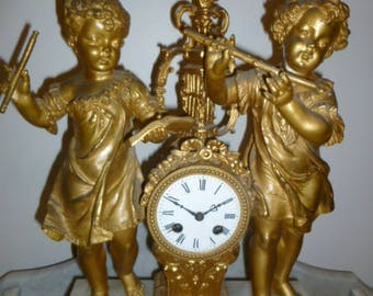 Antique French gilt spelter and marble figural clock c 1880