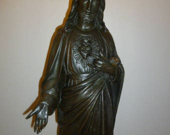 Large Italian religious Art Deco bronze sculpture of JESUS with sacred heart signed BOSISIO founderia circa 1930s