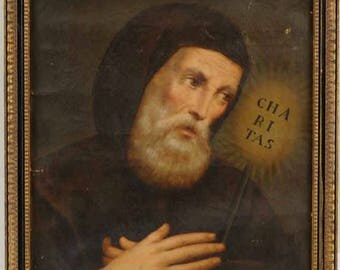 Antique religious art European oil on canvas painting of St Francis of Paola circa 1790s