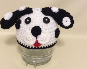 Crochet Dalmation Hat/Newborn Photography Prop/Infant Halloween Costume/Baby Shower Gifts/Cake Smash Photo Prop/101 Dalmations