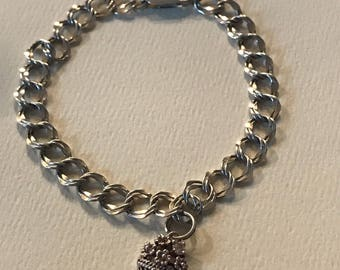 Super Cute Chainlink Bracelet with a Charm Sterling Silver , 925