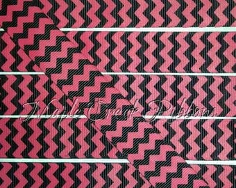 "1"" Red and Black Chevron Print Grosgrain Ribbon 1"" x 1 yard"