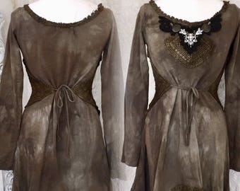 Pagan dress brown cotton ,Boho dress brown ,Vintage inspired dress, lagen look ,  alternative bridal gown ,shabby chic dress brown,rawrags