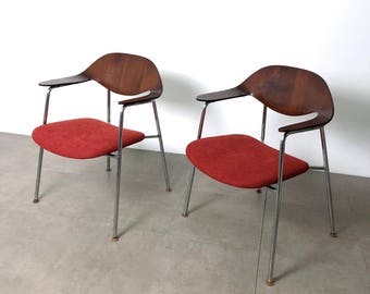 Rare Pair of Plycraft Walnut Bentwood & Tubular Steel Armchairs, Mulhauser Attr. 1960's
