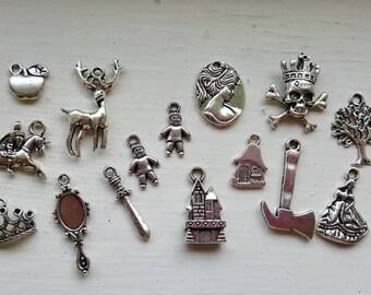 Snow White Charm Set 15 Piece Tibetan Style Antique Silver