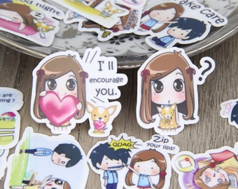 40pcs All Different Cute Little Girl and Boy Daily Life Expression Decorative Scrapbooking Stickers DIY Diary Deco Sticker Pack