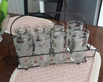 Vintage Retro Silver Leaf Frosted 12 oz Tumblers / Set of 8 w/ Black Metal Caddy - Hostess Glassware Styled by Libbey