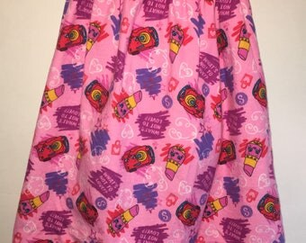 Girls Shopkins Nightgown Lippy Lips Pink Boutique Slumber Birthday Party Princess Flannel Pajamas Nightgown! Sizes 2 ,3, 4, 5, 6, 7, 8