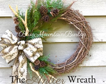 The Antler Hunting Grapevine Wreath, Fall Wreath, Front Door Wreath, Rustic Wreath, Hunting Lodge Wreath, Hunting Wreath, Antler Wreath