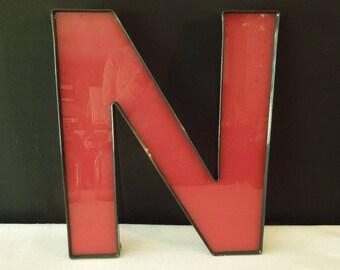 Red Black Letter N - Vintage Plastic Sign - Old Store Signage - Wall Decor Art  - Monogram Alphabet Initial Plastic N