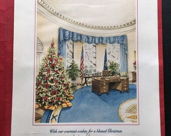 1990 President George Bush Large Christmas Card inc. folio with White House Seal