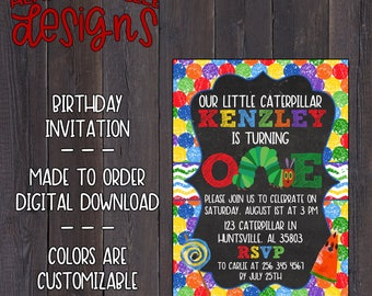 ONE Hungry Caterpillar Birthday Invitation