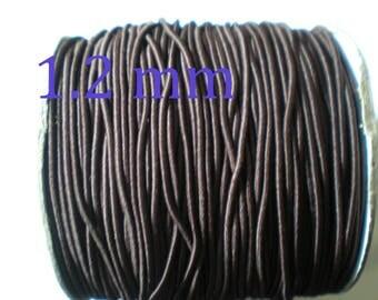 Set of 3 m of fabric elastic cord brown chocolate 1.2 mm in diameter