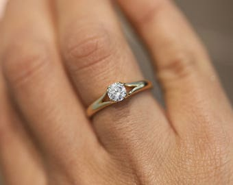 14K Yellow Gold, Diamond Engagement Ring, Solitaire Ring,  Round Diamond Ring, Gold Bridal Ring, Gift for Her, Solitaire Diamond  Ring