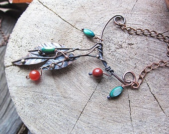 Branch Copper Necklace Boho Bohemian Earthy Rustic Necklace Leaf Necklace Birthday Gift for Mom Nature Forest Necklace Green Necklace