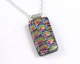 Multicolored Dichroic Fused Glass Pendant - Fused Glass Jewelry - Dichroic Glass Necklace - Gift for Her