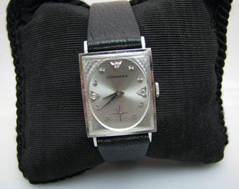 a065 Vintage Authentic 1966 14k White Gold Longines Watch with Diamond Markers