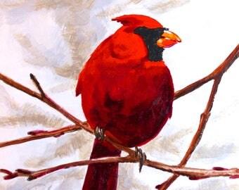 "Cardinal Among Branches Original Bird Painting Acrylic on Board 4""x4"""
