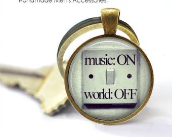 Music ON, World OFF Pendant • Music Quote • Music Lover Quote • Music Is My World • Gift Under 20 • Made in Australia (P1382)