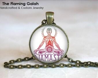 NAMASTE YOGA POSE Pendant •  Pink Yoga •  Sasangasana •  Meditation Pose •  Yoga Jewellery • Gift Under 20 • Made in Australia (P0365)
