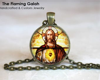 SACRED HEART of JESUS Pendant •  Sacre Coeur •  Flaming Heart •  Religious Heart •  Faith Jewellery •  Made in Australia (P1489)