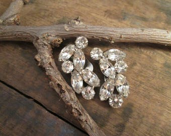 Vintage Silver Tone Weiss Clear Round and Marquise Cut Rhinestone Clip Earrings